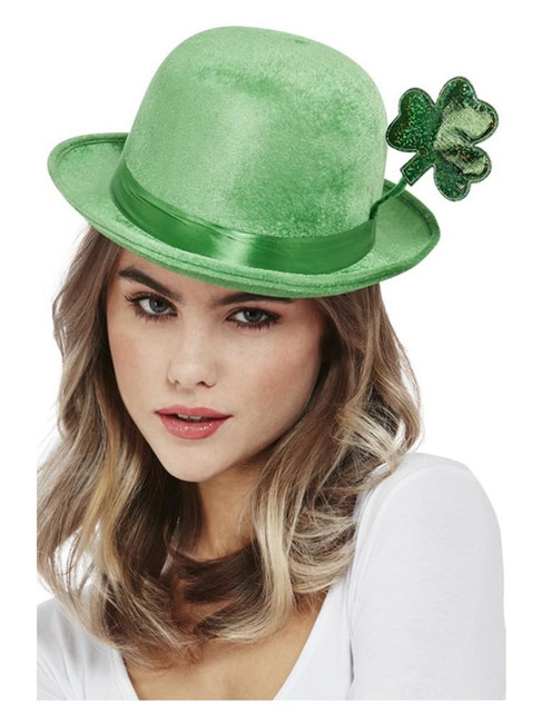 St Patricks/Deluxe Paddy's Day Bowler Hat, Velour,Irish/Ireland Fancy Dress