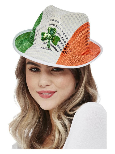 St Patricks, Paddy's Day Irish Flag Sequin Trilby Hat,Ireland Fancy Dress