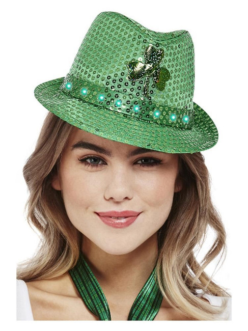 St Patricks/Paddy's Day Light Up Sequin Trilby Hat,Irish/Ireland Fancy Dress