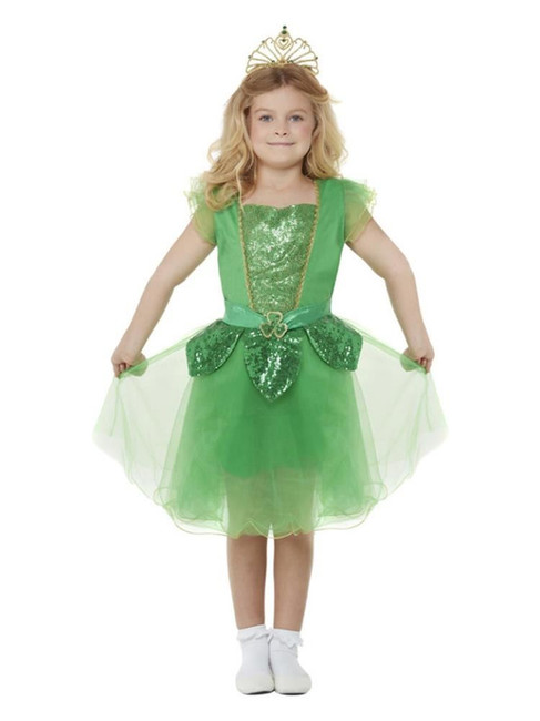 Deluxe St Patrick's Day Glitter Fairy Girls Green Fancy Dress Costume, Large