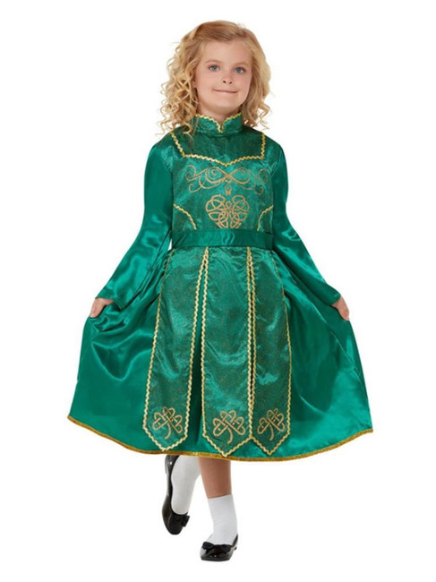 Deluxe Irish Dancer Costume, Girls Fancy Dress Costume, Size Medium
