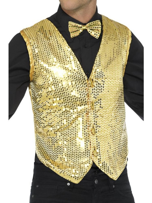 Gold Sequin Waistcoat, Party & Carnival. XL