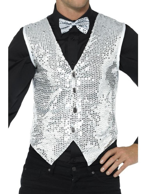 Silver Sequin Waistcoat, Party & Carnival. XL