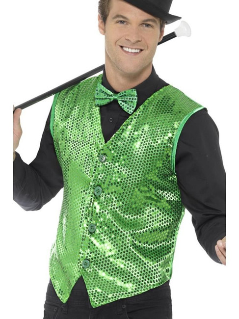 Green Sequin Waistcoat, Party & Carnival. XL