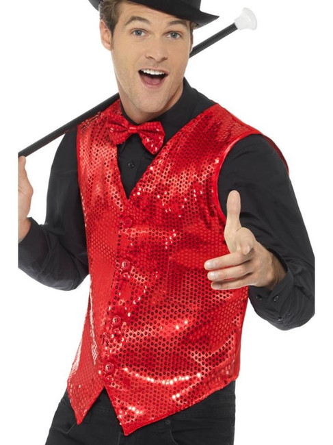 Red Sequin Waistcoat, Party & Carnival. XL