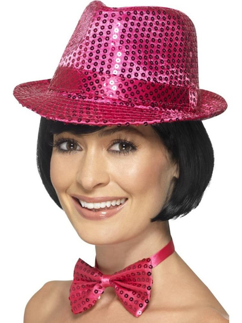 Sequin Trilby Hat, Light Up and Party, PINK