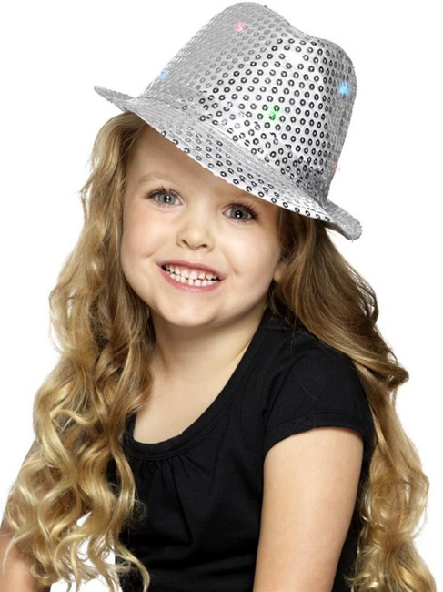Silver Light Up Sequin Trilby Hat, Party & Carnival. One Size