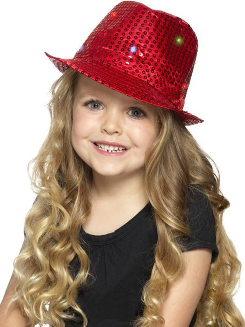 Red Light Up Sequin Trilby Hat, Party & Carnival. One Size