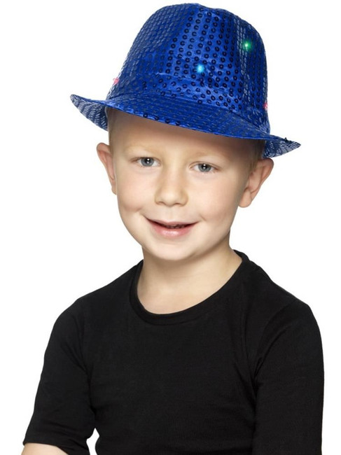 Blue Light Up Sequin Trilby Hat, Party & Carnival. One Size