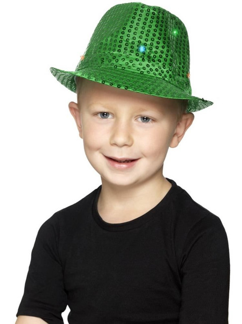 Green Light Up Sequin Trilby Hat, Party & Carnival. One Size