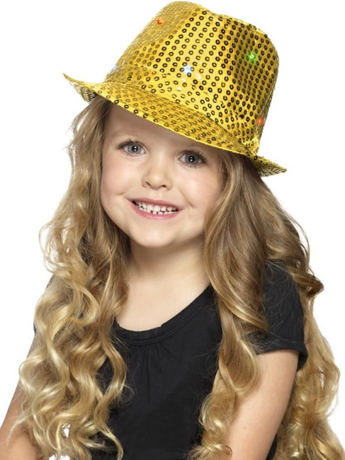 Gold Light Up Sequin Trilby Hat, Party & Carnival. One Size