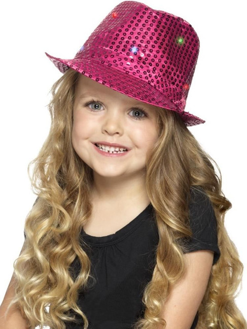 Pink Light Up Sequin Trilby Hat, Party & Carnival. One Size