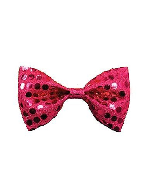 Bow Tie Sequin. Pink, Fancy Dress Accessory