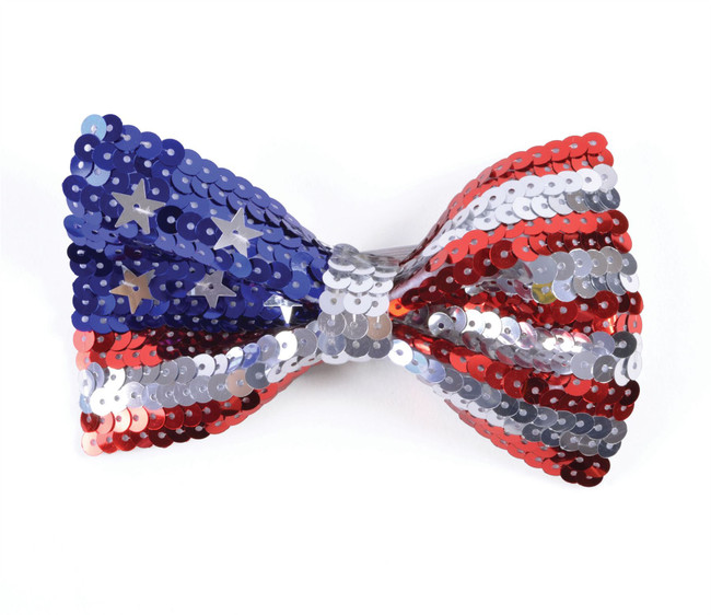 USA Stars and Stripes Flag Sequin Bow Tie, PATRIOTIC/FANCY DRESS ACCESSORY