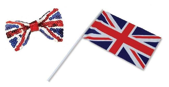 Union Jack Handwaving Flag & Bow Tie Set