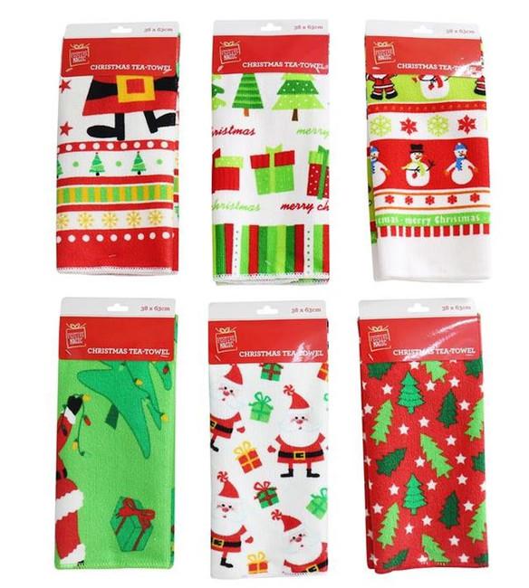 Christmas Microfibre Tea Towel, (Assorted designs - 1 per sale), Xmas Stocking Filler/Gift