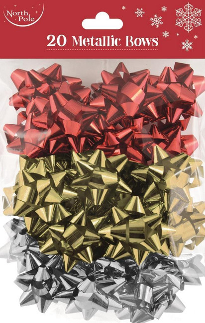 Bag of 20 Metallic Gift Wrap Bows - Red/Gold/Silver
