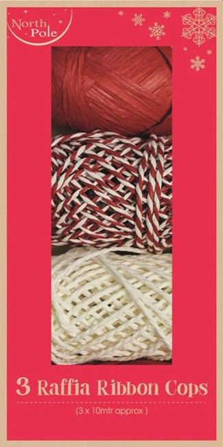 Set of 3 Rafia Ribbon Cops, Red & White, Christmas Gift Wrapping