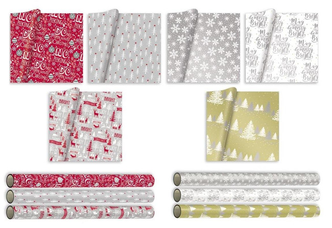 Bulk Purchase 5m Christmas Wrapping Paper x 6 Rolls, Total 30m, Assorted Designs including 3 Metallic Styles