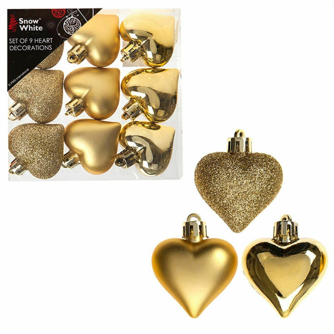 Set of 9 Heart Baubles, 4cm, Gold, Christmas Tree Decorations
