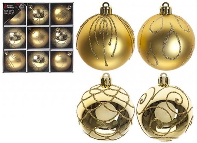 Set of 9 Luxury Baubles, Red, Christmas Tree Decorations