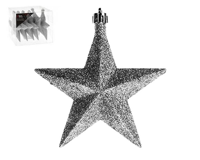Set of 6 Glitter Star Decorations - 10cm - Silver.  Christmas Tree Decorations