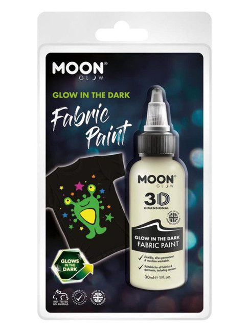 Moon Glow - Glow in the Dark Fabric Paint, Clear.