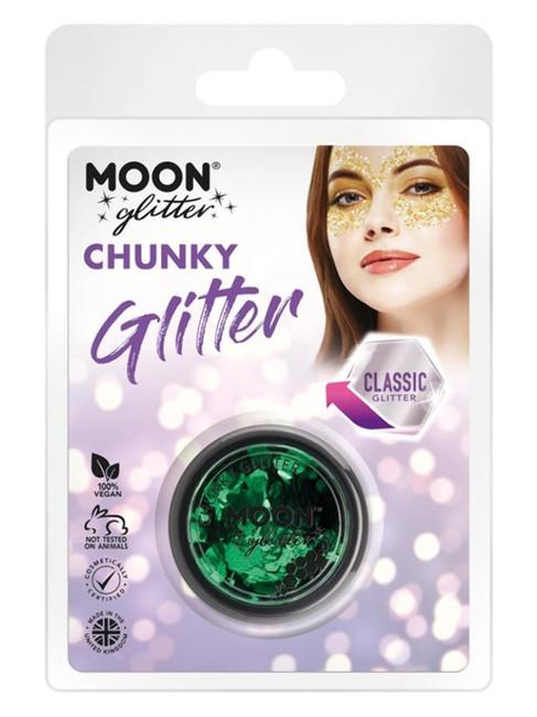 Moon Glitter Classic Chunky Glitter, Green.