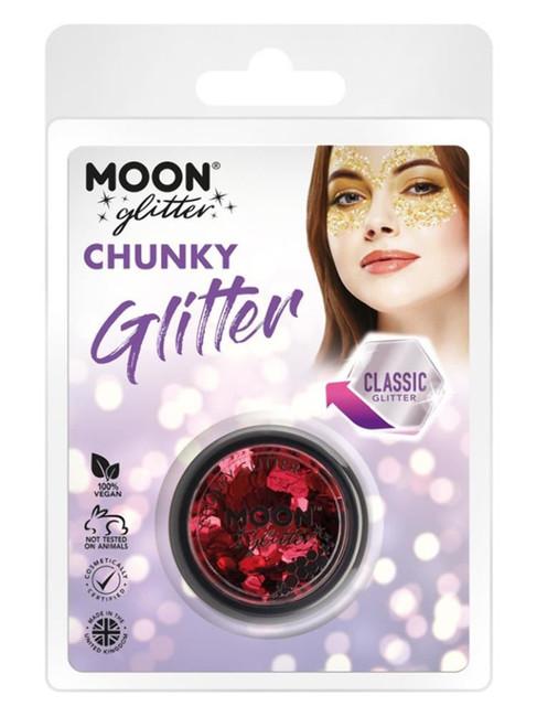 Moon Glitter Classic Chunky Glitter, Red.