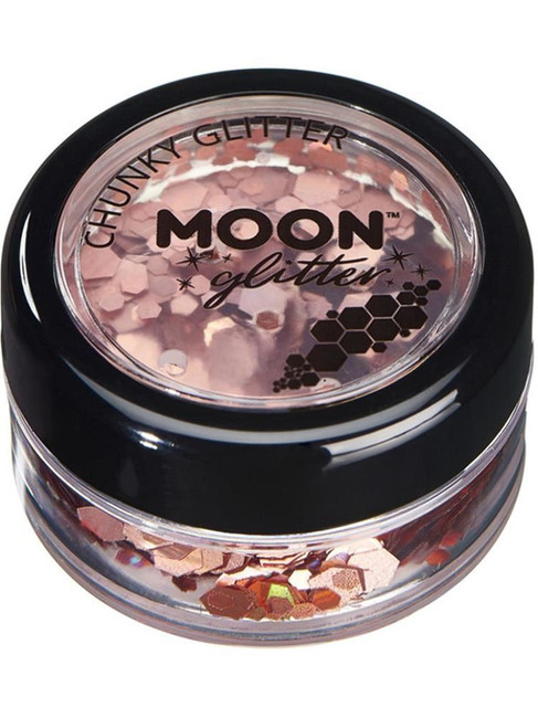 Moon Glitter Holographic Chunky Glitter, Rose Gold.