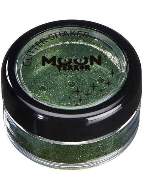 Moon Terror Halloween Glitter Shakers, Green.