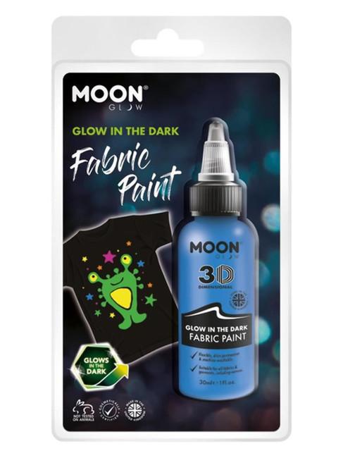 Moon Glow - Glow in the Dark Fabric Paint, Blue.