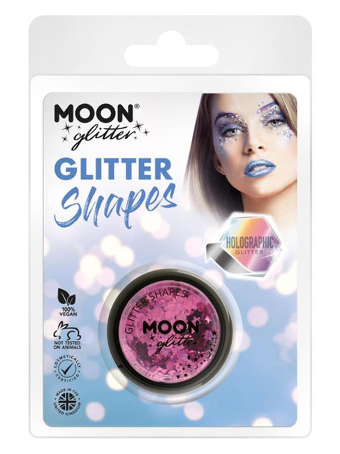 Moon Glitter Holographic Glitter Shapes, Pink.