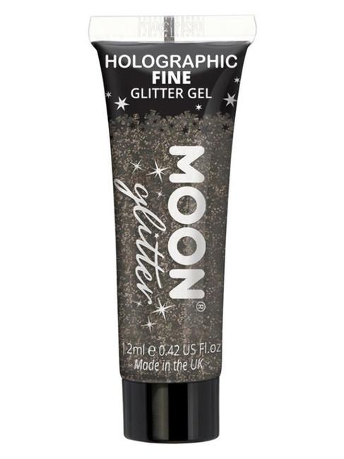 Moon Glitter Holographic Fine Glitter Gel, Black.