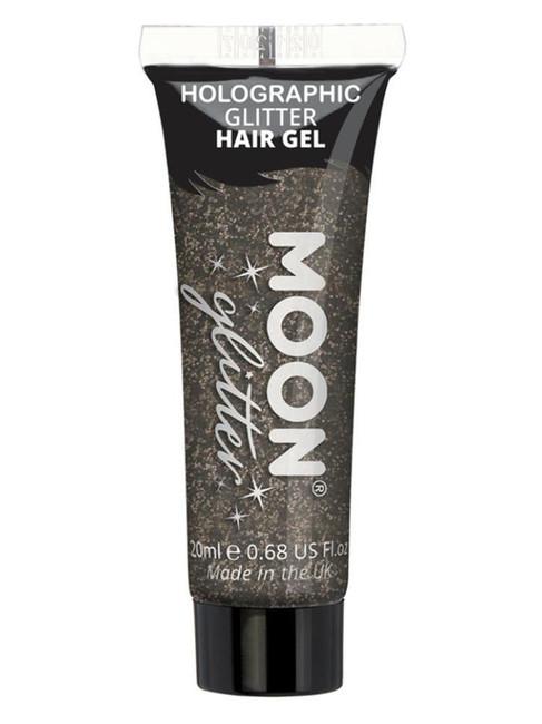 Moon Glitter Holographic Glitter Hair Gel, Black.