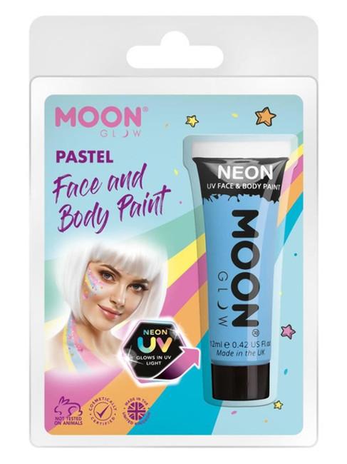 Moon Glow Pastel Neon UV Face Paint, Pastel Blue.