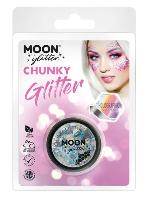 Moon Glitter Holographic Chunky Glitter, Silver.