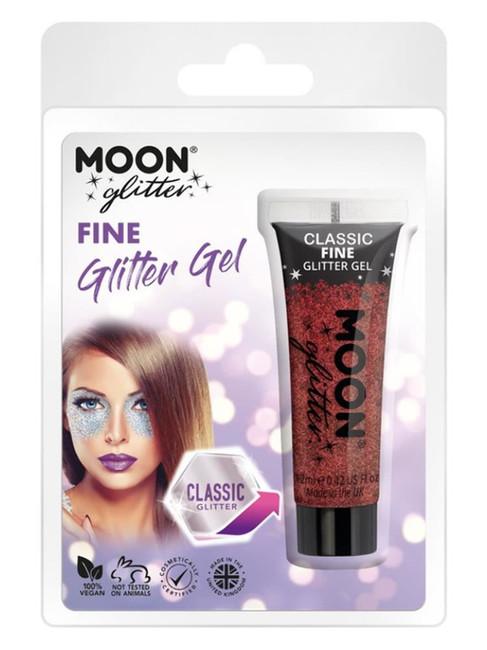 Moon Glitter Classic Fine Glitter Gel, Red.