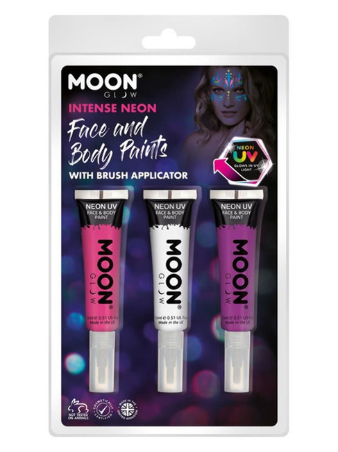 Moon Glow Intense Neon UV Face Paint and Brush,.