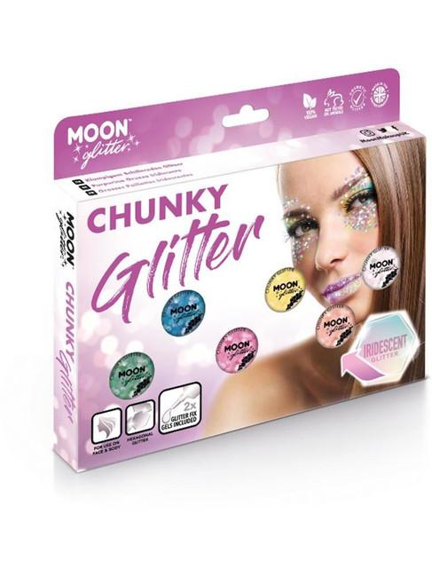 Moon Glitter Iridescent Chunky Glitter, Assorted.