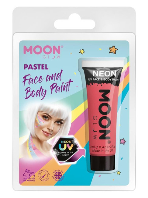 Moon Glow Pastel Neon UV Face Paint, Pastel Coral.