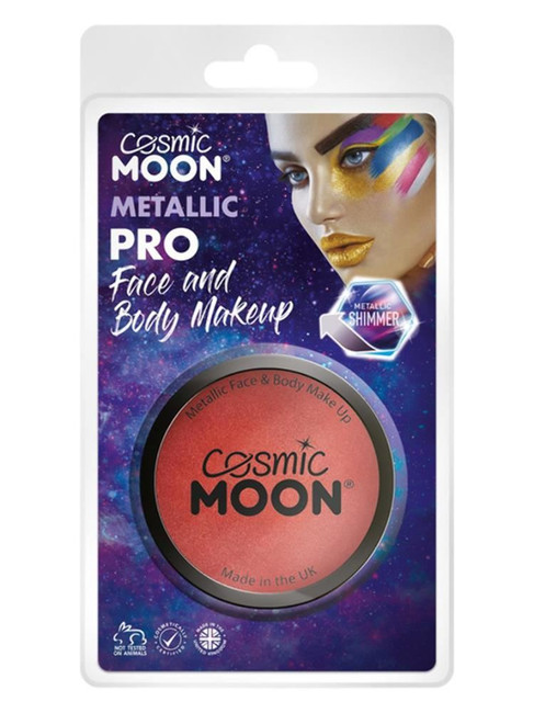 Cosmic Moon Metallic Pro Face Paint Cake pots, Red.