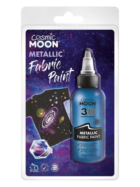 Cosmic Moon Metallic fabric Paint, Blue.