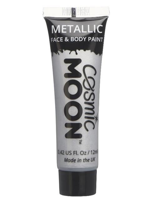 Cosmic Moon Metallic Face & Body Paint, Silver.