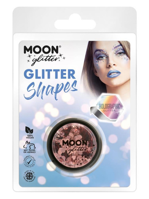 Moon Glitter Holographic Glitter Shapes, Rose Gold.