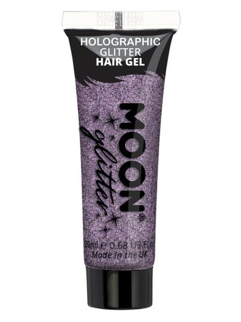 Moon Glitter Holographic Glitter Hair Gel, Purple.