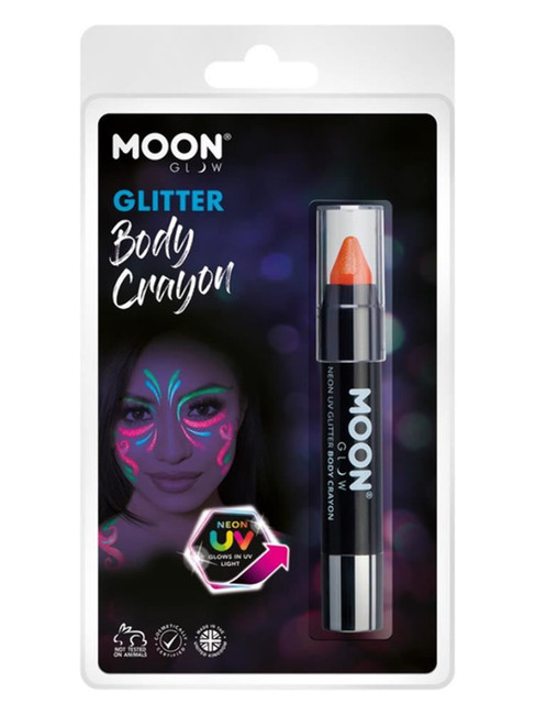 Moon Glow - Neon UV Glitter Body Crayons, Orange.