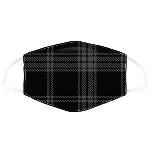 Black & Grey Tartan Reusable Face Covering - Large