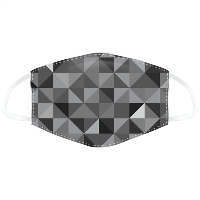 Geometric Black & Grey Triangles Print Reusable Face Covering - Large