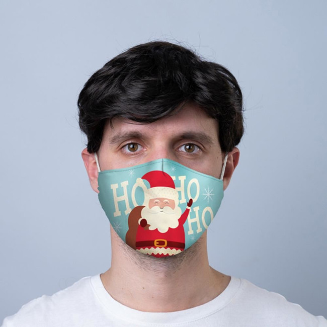 Ho Ho Ho Christmas Santa Reusable Face Covering - Large